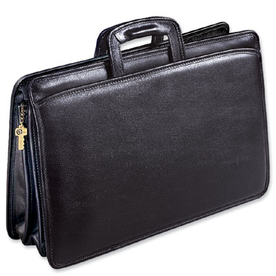 Jack Georges University Three Gusset Top Zip Tri-Pocket Leather Portfolio Briefcase