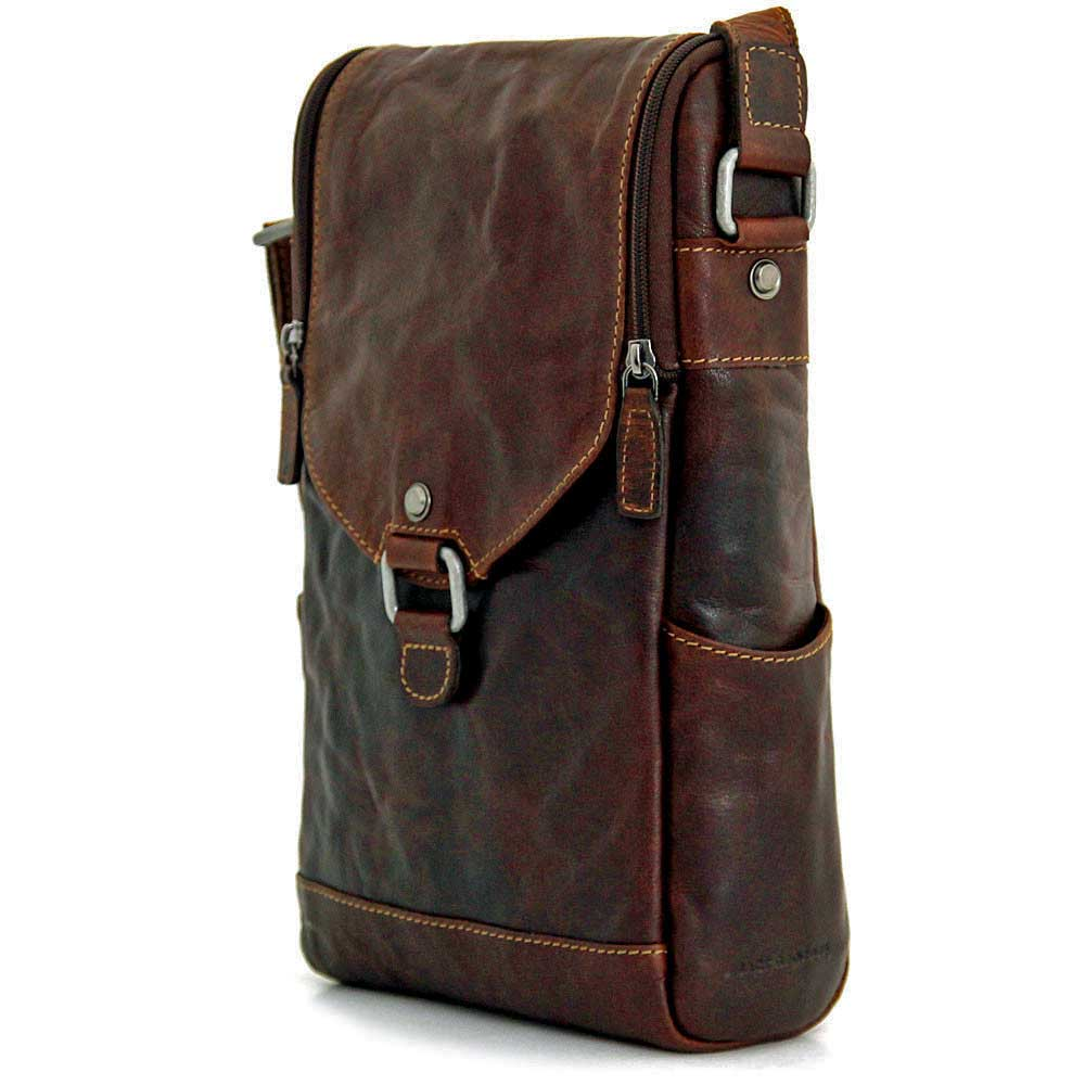 4e2d64ac2 Jack Georges Voyager Leather Crossbody Messenger & Wine Bag handmade in hand -stained buffalo leather.