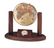 Replogle Executive World Desk Globe and Clock