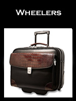 Luxury Leather Wheeled Laptop Bags for Men