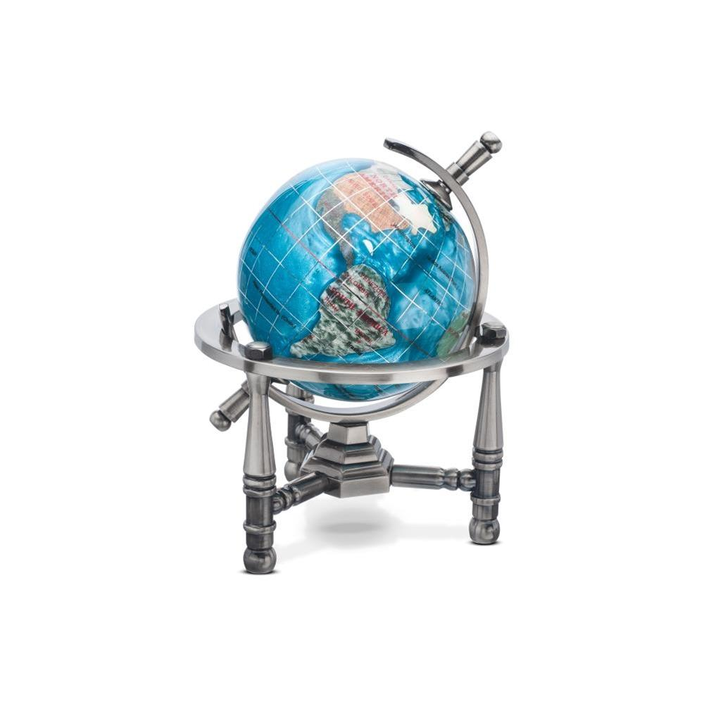 Bahama Blue Opalite Gemstone Globe (GNT80AS-BB) - Nautical Stand