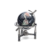Black Opalite Gemstone Globe (GNT80AS-BO) - Nautical Stand