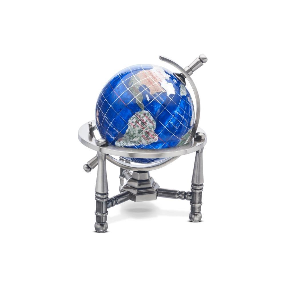 Caribbean Blue Opalite Gemstone Globe (GNT80AS-CB) - Nautical Stand