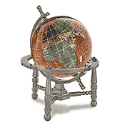 Copper Amber Opalite Gemstone Globe (GNT80AS-CPR) - Nautical Stand