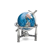 Marine Blue Opalite Gemstone Globe (GNT80AS-MB) - Nautical Stand