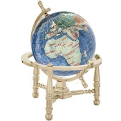 Marine Blue Opalite Gemstone Globe (GNT80G-MB) - Nautical Stand