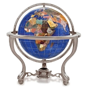 Caribbean Blue Gemstone Globe on 3 Leg Antique Silver Desk Stand