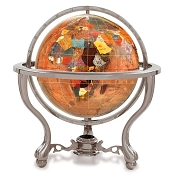 Copper Amber Gemstone Globe on 3 Leg Antique Silver Desk Stand