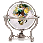 Opal Gemstone Globe on 3 Leg Antique Silver Desk Stand