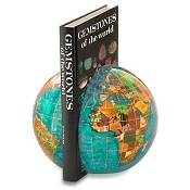 Gemstone Globe Stone Bookends - Bahama Blue