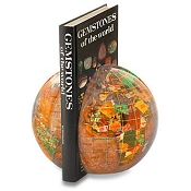 Gemstone Globe Stone Bookends - Copper Amber