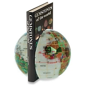 Gemstone Globe Stone Bookends - Opalite