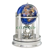 Caribbean Blue Gemstone Globe W/ Rotating Clock (G150BS-CB)