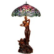 Oceanside Twin - Purple Dragonfly Shade Tiffany Lamp