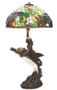 Dolphin With Green Ocean Park Shade Tiffany Lamp