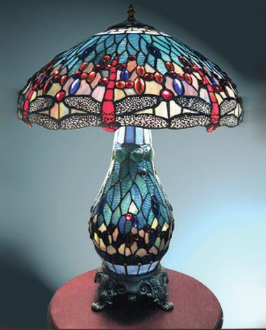 Blue Dragonfly Tiffany Style Lamp 26 Inch