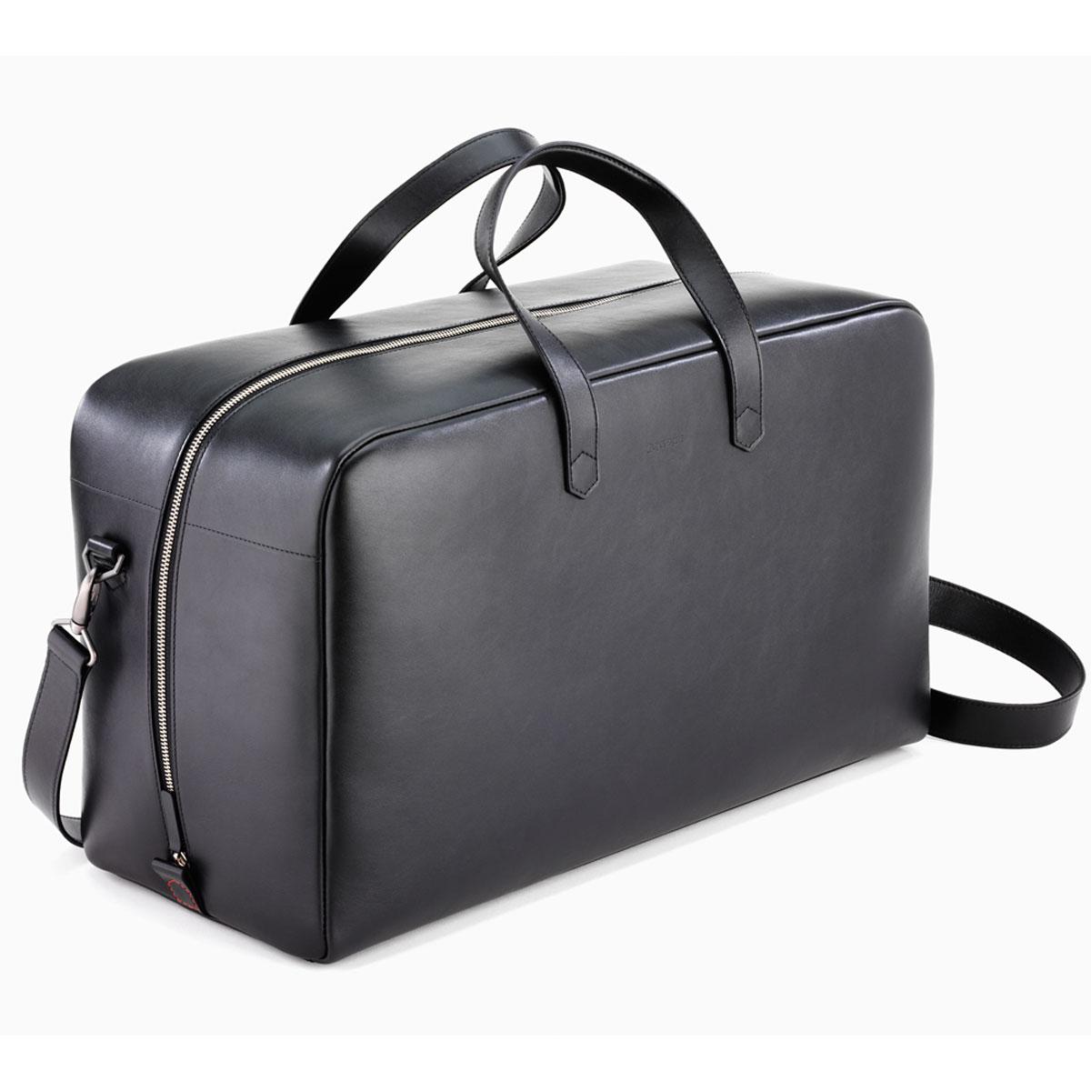 photos officielles c947c 78c5d Caran d'Ache Cuir Black Leather Weekend Travel Bag