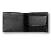 Caran d'Ache Haute Maroquinerie Black Leather 4 Card Wallet with Coin Case