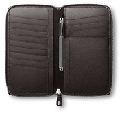 Caran d'Ache Haute Maroquinerie Ebony Leather Zip Passport Holder