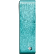 Caran d'Ache Leman Turquoise Blue Leather Two Pen Case