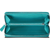 Caran d'Ache Leman Turquoise Blue Leather Women's Zip Around Wallet