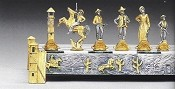 Cowboys  Gold and Silver Themed Chess PIeces