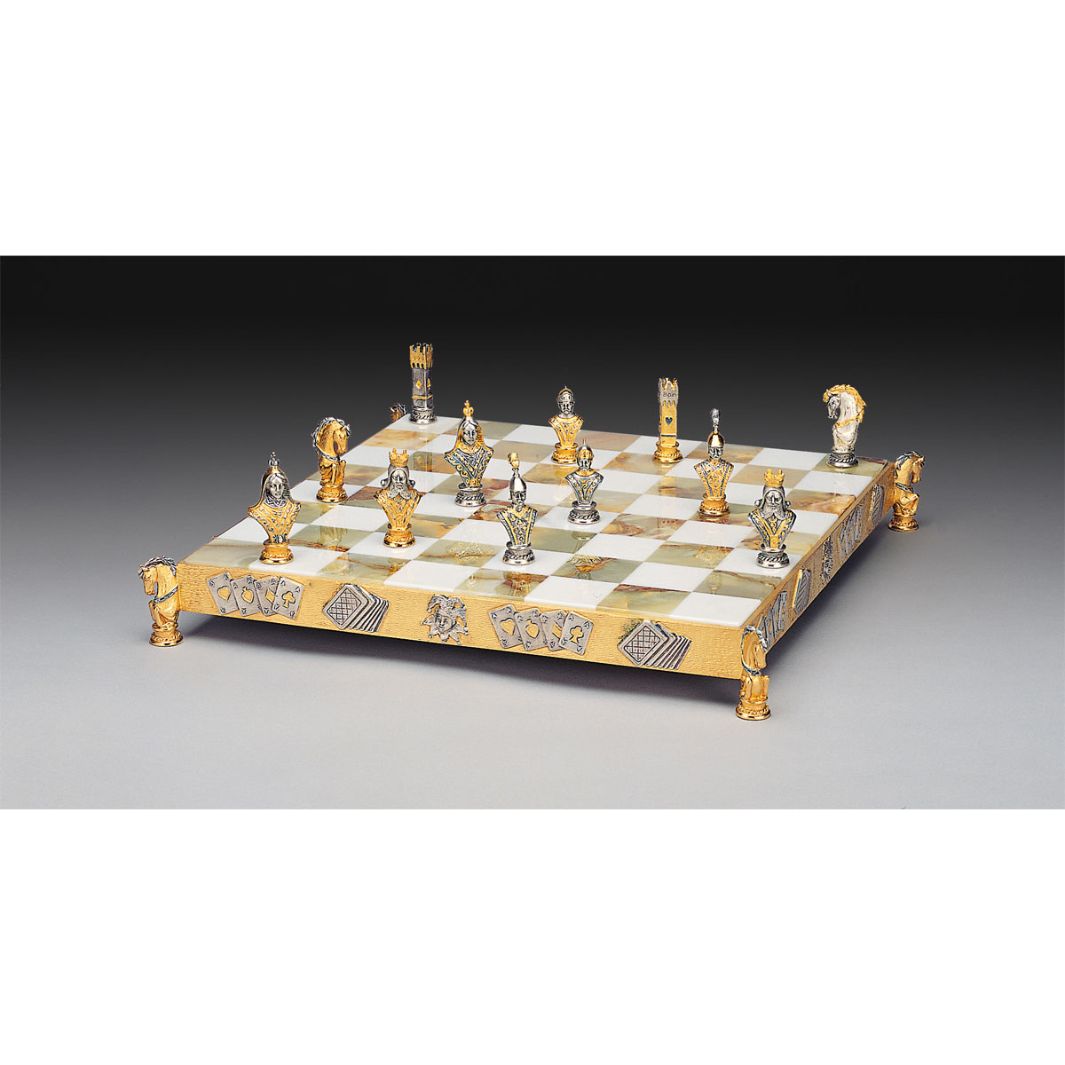 Poker Game Symbols Gold and Silver Themed Chess Set