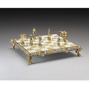 Medieval Camelot Themed Gold and Silver Chess Board