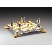 Medieval Venetian Period Gold and Silver Themed Chess Board