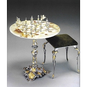 Vatican Soldiers vs Landsknechts Chess Set | Round Table and Chairs
