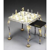Luigi XIV (Louis XIV) Onyx Chess Table and Stool - Sunflower