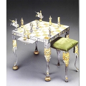 Medieval Venetian Period Themed Chess Set | Table and Chairs