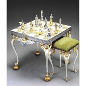 Gold and Silver Onyx Square Chess Table and Stool