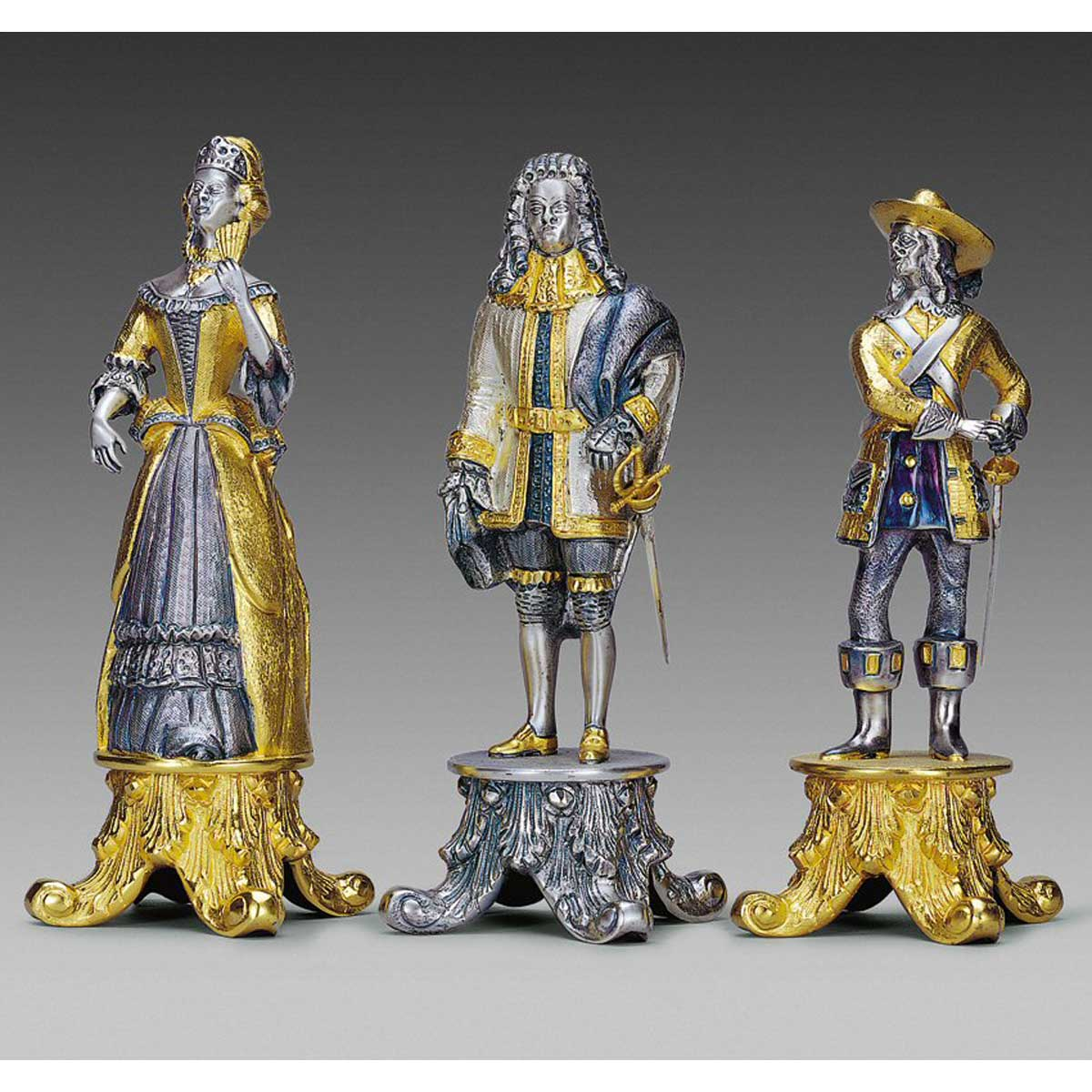 Louis XIV Sun King Themed Giant Chess Pieces | Gold & Silver
