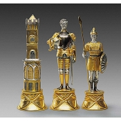 Charlemagne vs Moors Themed Giant Chess Pieces | Gold & Silver