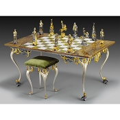 Louis XIV Sun King Themed Giant Chess Set | Table and Chairs