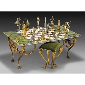 Charlemagne vs Moors Gold-Silver-Onyx Giant Chess Table and Stool