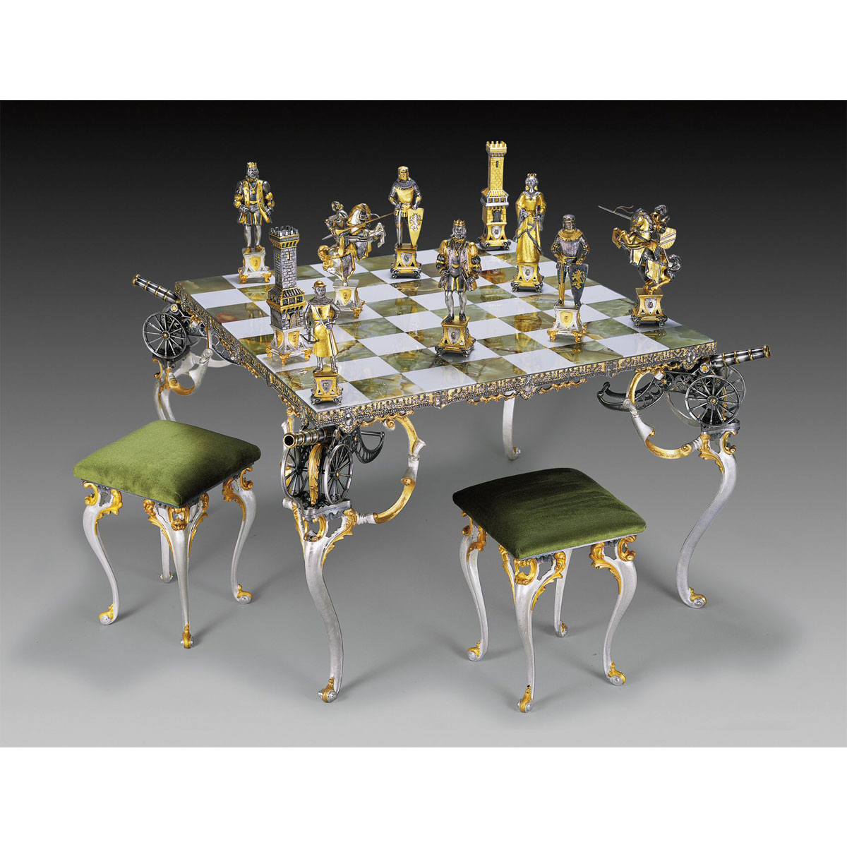 Medieval Style Giant Gold & Silver Chess Set | Chess Table and Chairs