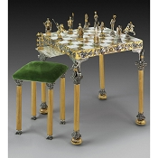 Romani Gold and Silver Square Onyx Themed Chess Table and Stool