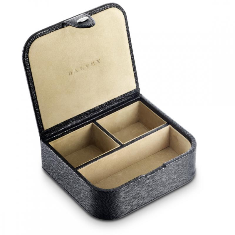 Dalvey Leather Cufflink Box - Black