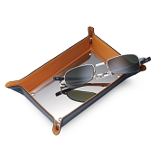 Dalvey Leather Medium Men's Valet Tray - Carbon Fiber - Black & Orange
