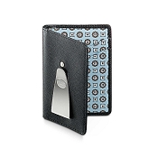 Dalvey Continental RFID Leather Money Clip Wallet - Black Caviar & Blue Madder