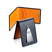 Dalvey Insignia Credit Card Case & Money Clip - Black/Orange