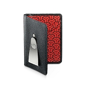 Dalvey Continental RFID Leather Money Clip Wallet - Black Caviar & Red Geometric