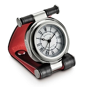 Dalvey Leather Travel Alarm Clock - Black - Red