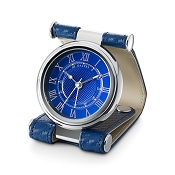 Dalvey Cavesson Leather Travel Alarm Clock - Blue
