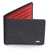 Dalvey Slim Leather Wallet - Black Caviar & Red