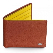 Dalvey Slim Leather Wallet - Brown Caviar & Yellow