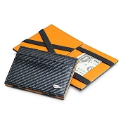 Dalvey Flip Wallet - Carbon Fiber Leather - Black/Orange