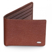 Dalvey Slim Leather Wallet - Brown Caviar